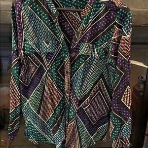 Calvin Klein multi color blouse. 100% rayon.